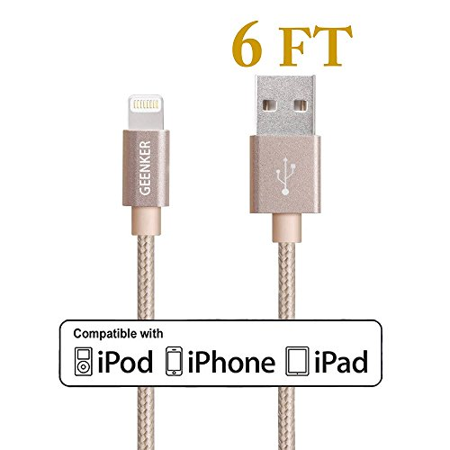 Lightning Cable, GEENKER 6FT Extra Long Nylon Braided 8 Pin USB Charging Cord for Apple iPhone 7/7 plus, 6/6s/6 plus/6s plus, 5c/5s/5/se, iPad Air/Mini, iPod Nano/Touch on iOS9. - Gold (Ipad Air Charging Cord Long compare prices)