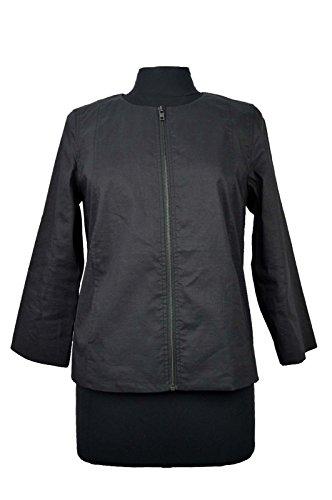 Eileen Fisher Round Neck Zip Jacket Black Size PM (Jackets Eileen Fisher compare prices)