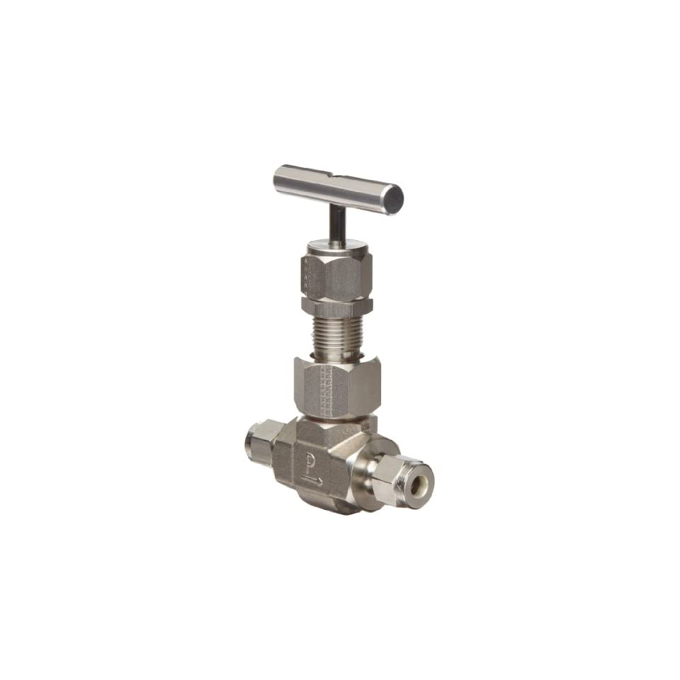 Parker U Series Stainless Steel 316 High Temperature Needle Valve, Inline, T Bar Handle, Regulating Stem, 3/4 A Lok Compression Fitting