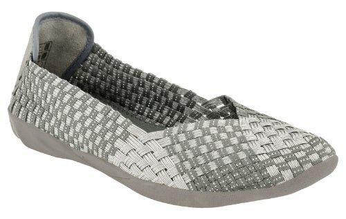 Bernie Mev Womens Catwalk Slip-On Silver Grey Size 38