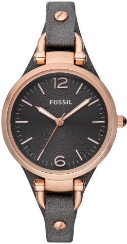 Fossil Women's ES3077 Georgia Smoke Leather and Rose Gold-Tone Stainless Steel Watch