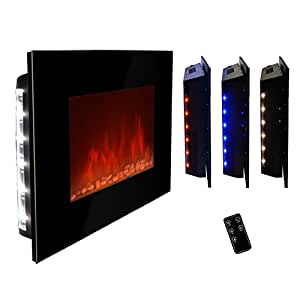 Akdy 36 Led Wall Mount Electric Fireplace Modern Space Heater Flat Tempered Glass