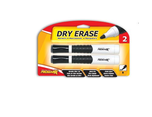Promarx Dry Erase Markers with Grip and Built-In Eraser Tip, Black, 2 Count