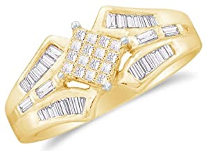 Size 7 - 14k Yellow Gold Ladies Womens Princess Cut Baguette Diamond Wedding Ring (1/2 cttw.)