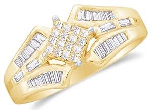 Size 7 - 14k Yellow Gold Ladies Womens Princess Cut Baguette Diamond Wedding Ring (1/2 cttw.)