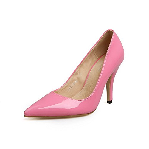 Voguezone009 Womens Closed Toe Pointed Toe Toe High Heels Spikes Stiletto Patent Leather Solid Pumps, Peach, 5 B(M) Us