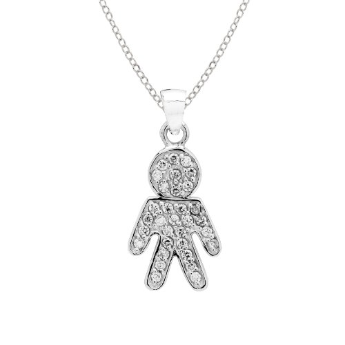 Sterling Silver April Birthstone Crystal Boy Pendant Necklace, 18