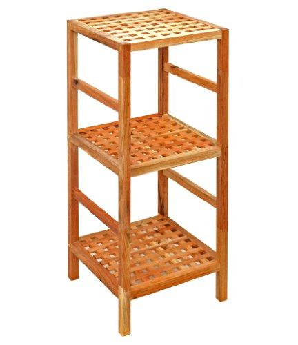 Regal-Standregal-Hochregal-85-cm-aus-Walnuss-Massivholz-fr-Bad-Wohnzimmer-Sauna-Flur-Diele-Kche-Bro-und-Kinderzimmer