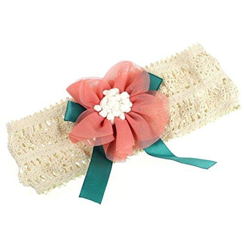 Pooqdo (Tm) Infant Baby Lace Flower Hair Band Headband Elastic Hair Headwear (Dark Pink) front-1020119