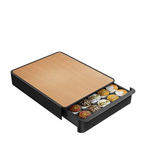 """Mind Reader Bbtry-Blk """"Woody"""" Coffee Pod Storage Drawer, Black With Wood Look Top"""