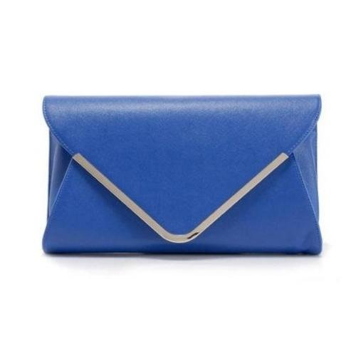 Electric Blue Womens Faux Leather Clutch With Detachable Gold Chain-Link Shoulder Strap