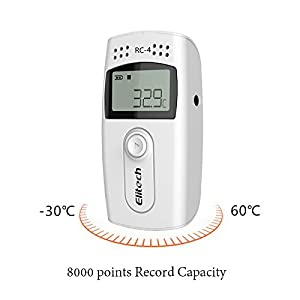 Elitech RC-4 Temperature Data Logger Recorder with External Temperature Sensor (Color: White)