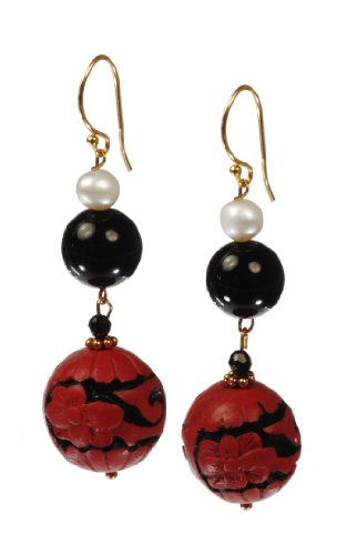 Carved Cinnabar Scroll Bead with Black Onyx and White Freshwater Cultured Pearl Accents Drop Earrings
