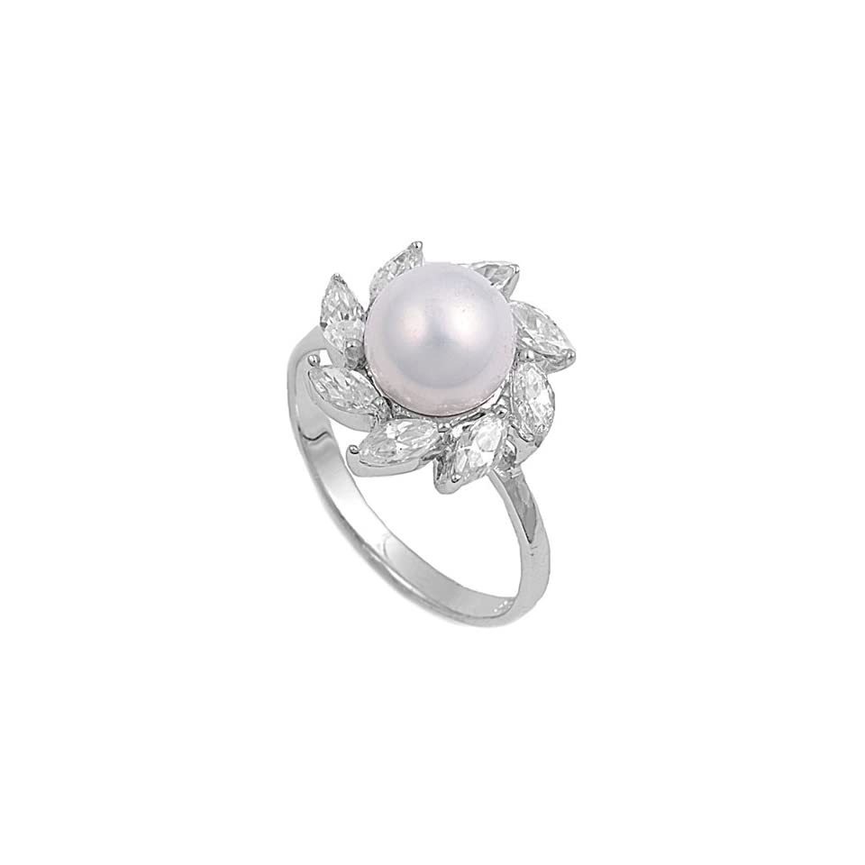 Simulated Pearl Cubic Zirconia Fire Flower Ring Sterling Silver Size 5