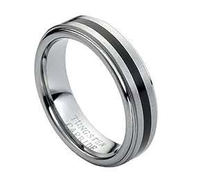 Amazon Tungsten Carbide Black Rubber Inlaid Center On Brushed Center Mens Womens Wedding
