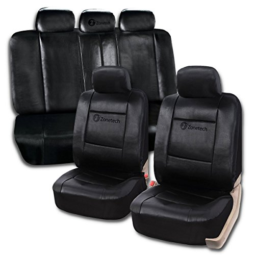 Zone Tech Universal Leather Car Seat Covers - 11-Piece Classic Black Luxury Universal Fit Interior Décor PU Leather Car Seat Cover (Leather Racing Seat Covers compare prices)