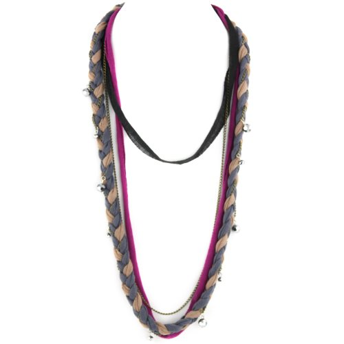 Soft Braided Fabric Layered Necklace - Crystal Cut Shimmery Beads - Brass Chain Link - Gray Caramel Black & Fuschia