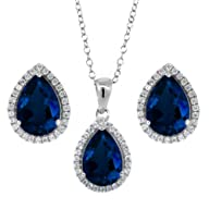 6.00 Ct 10X7mm Created Sapphire Pear Shape Pendant Earrings Silver Set 18″