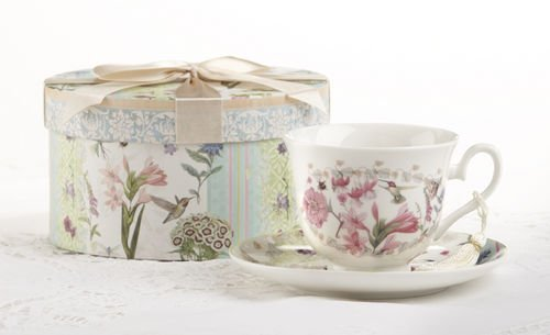 Delton Products Flower Patch Porcelain Tea Cup & Saucer in Gift Box