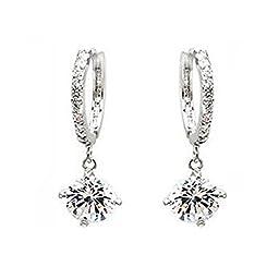 Ocaler Gold / Silver Plated Crystal Rhinestone Hoop Hook Earrings