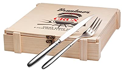 Bruntmor, CRUX Royal 18/10 Stainless Steel 16-piece Steak Knife set Wooden Gift Box