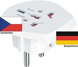 Design Reiseadapter Deutschland auf Tschechien für ausländische Gerätestecker in D / EU nutzen