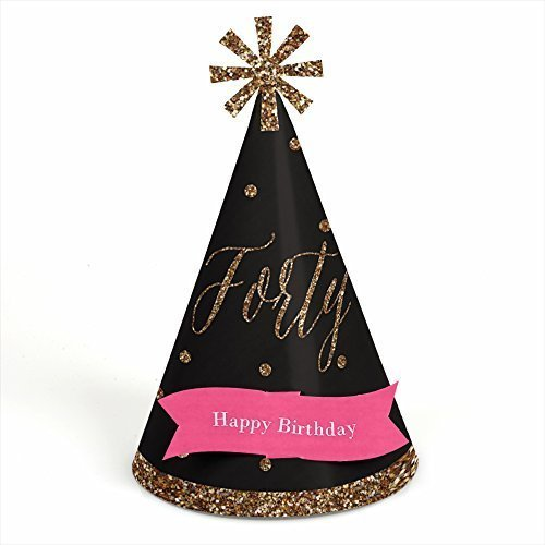 Chic 40th Birthday - Pink, Black and Gold - Cone Birthday Party Hats - 8 Count (Black Cone Party Hats compare prices)
