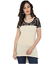 Bedazzle Casual Off White With Black Net Women's Top
