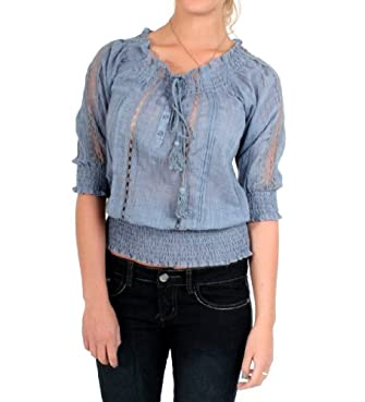 A & Co. Sheer Laced Blouse in Denim