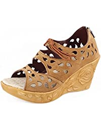 Thari Choice Woman And Girls Synthetic Velvet Wedges Heel Sandal