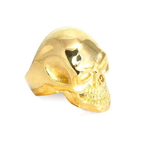 Moon Wings Vintage Stainless Steel Mens Gold Color Skull Ring Size 10