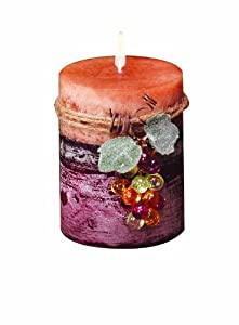 Deco Glow Wine Country Pillar Candle, 3 by 4