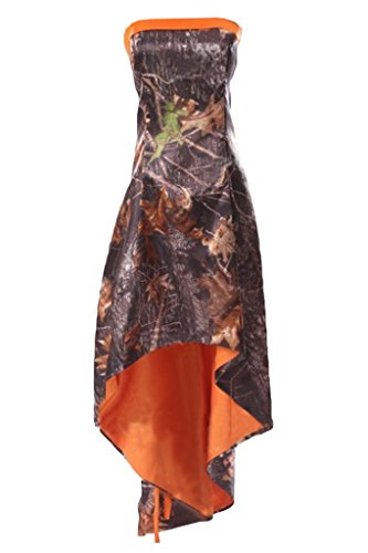 Prom Style Orange Prom Evening Dresses Camouflage Party Ball Gowns Hi-Lo Cheap US 22