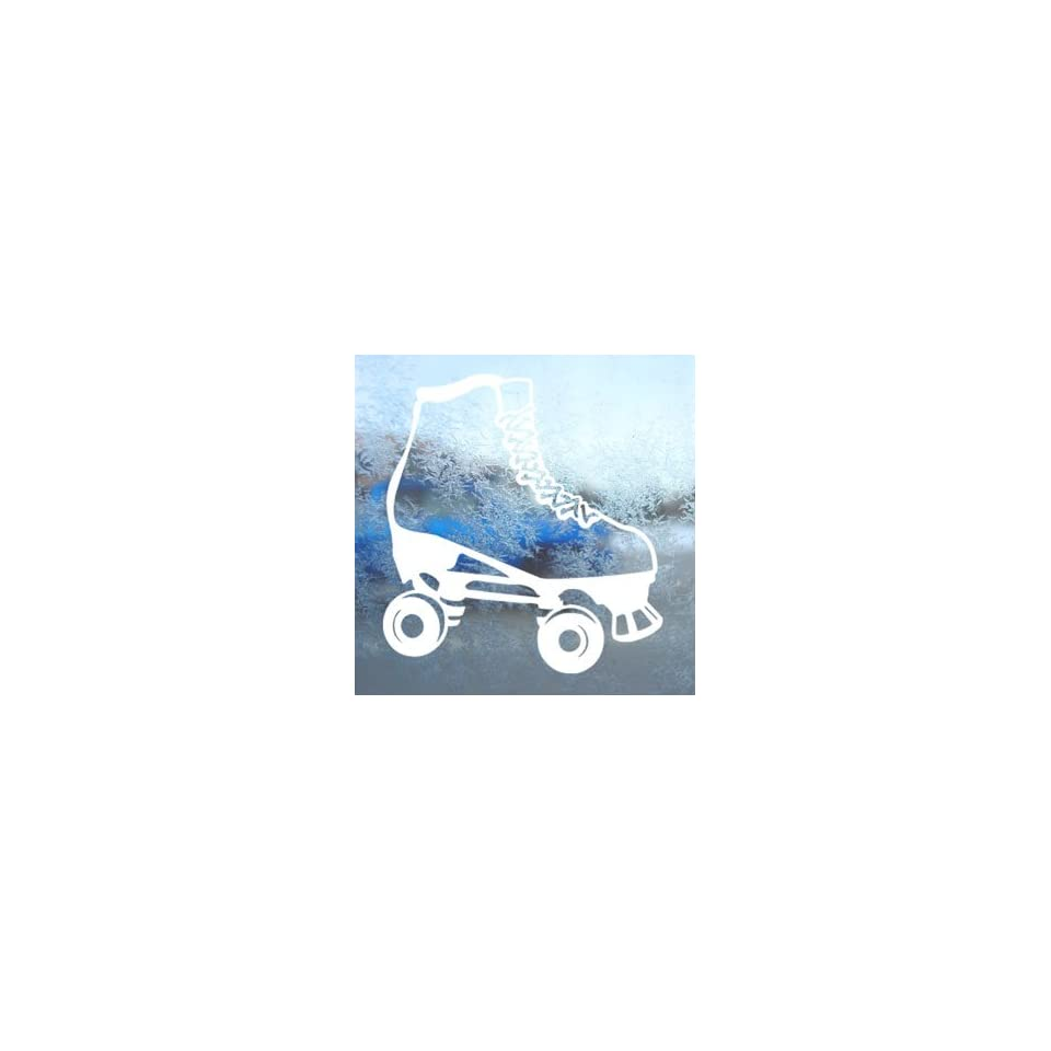 Rollerskate White Decal Car Laptop Window Vinyl White Sticker
