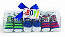 Mud Pie Baby All Boy Decorated Cotton Sneaker Socks, Striped, 0 - 12 Months, Set of 3