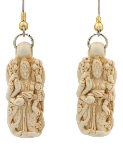 Intricately Detailed Hand Cast Serene Lakshmi Earrings
