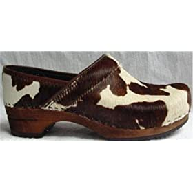 Safari Sanita Dark Brown Cow Closed Heel Wood Clogs