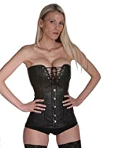 Hot Sale Gothic Black Leather Overbust Lace Up Steel Boned Corsets Waist Cincher Bustier, 54