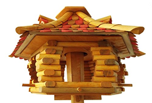 k22-cb-quality-stylish-bird-table-feeder-with-pine-roof-tiles-in-red-natural-colourfree-delivery