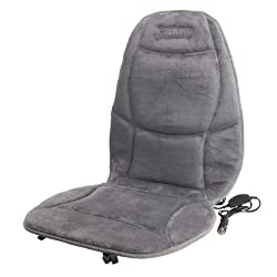 Front view of the Wagan IN9438-2 Soft Velour Heated Seat Cushion showing the DC power adapter