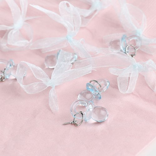 "1.25"" Clear Blue Acrylic Baby Pacifiers With Eyelet Hole For Baby Shower Favors 144-Pcs."