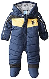 US Polo Association Baby-Boys Newborn Chest Striped Puffer Bunting Snowsuit, Navy, 6-9 Months
