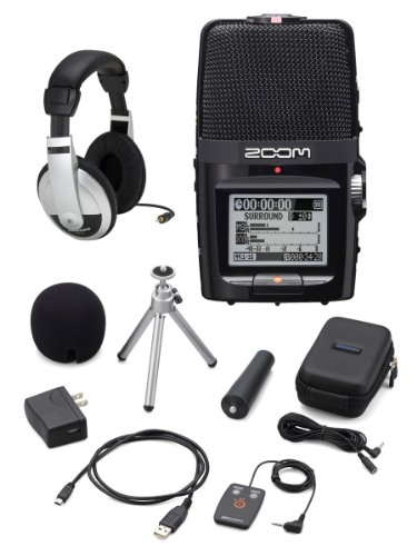 Zoom H2N Handy Handheld Digital Multitrack Recorder Bundle With Aph-2N Accessory Pack And Headphones