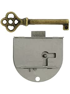 Polished Steel Left Hand Drawer Or Cabinet Lock. Cabinet Door Lock Hardware.