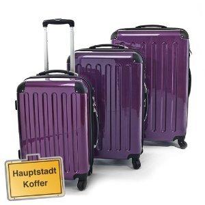 3er Kofferset Hartschale Trolleys aubergine-Hochglanz