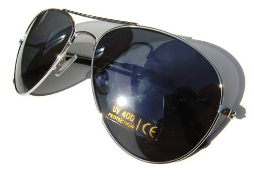 Silver Aviator Sunglasses with Semi Mirrored Lenses Mens and Womens Shades
