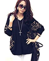Zehui Women's Personalized Loose V-Neck Cotton Shirt Batwing Sleeves Letter Blouse Top