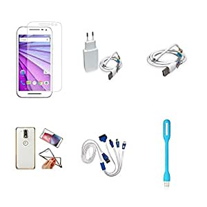 High Quality Combo of Moto G3 Temper Glass + 1 Amp USB Charger + USB Data Cable + Attractive Back Cover (Transparent Back with Golden Border) + 4 in 1 USB Charging Cable