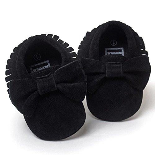 Perman Baby Flats Crib Tassels Bowknot Infant Boy Girl Shoes Toddler Sneakers (13cm/12-18M, Black)