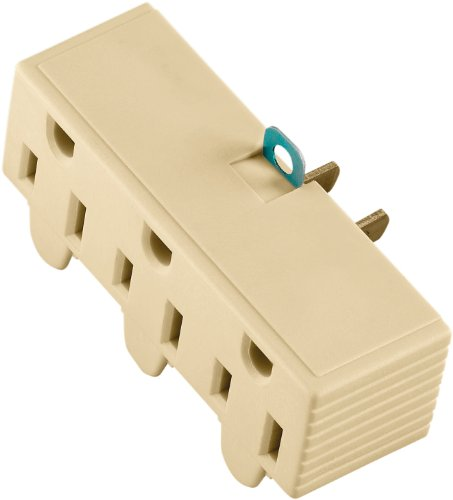 Cooper Wiring Devices 1219V-Box 15-Amp 2-Pole 3-Wire 125-Volt Three Outlet Grounding Adapter With Grounding Lug, Ivory